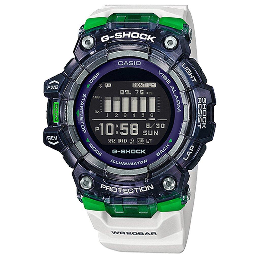 G-SHOCK CASIO / GBD-100SM-1A7 / 卡西歐 多功能 藍牙 半透明 電子 橡膠手錶 白綠色 48mm
