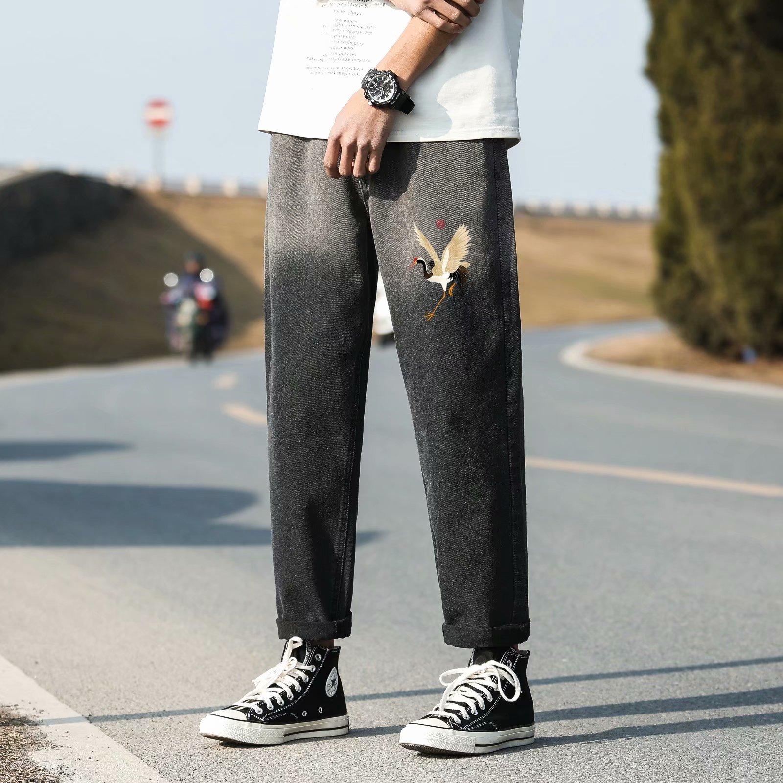FOFU-牛仔褲男潮流漸變印花休閒直筒型四季韓版九分褲中腰牛仔褲【08SB00288】