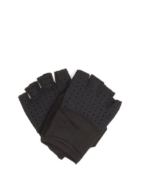 Café Du Cycliste - Summer Cycling Fingerless Gloves - Mens - Black