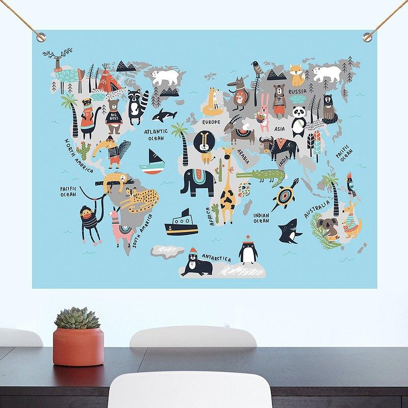 動物世界地圖 掛布