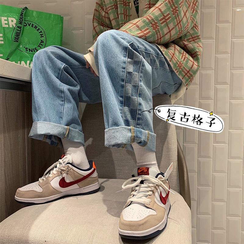 FOFU-牛仔褲男復古格子拼接韓版寬鬆港風潮流直筒老爹褲【08SB00268】