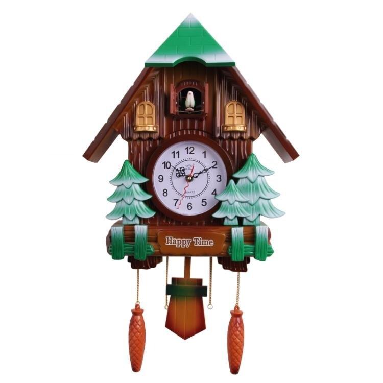 客廳布穀鳥掛鐘創意兒童歐式搖擺智慧報時鐘現代咕咕鬧鐘鐘錶 林之舍家居