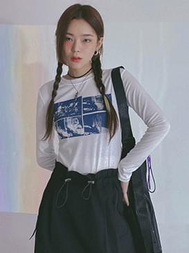韓國空運 - Printed rod cropped T-shirt 長袖上衣