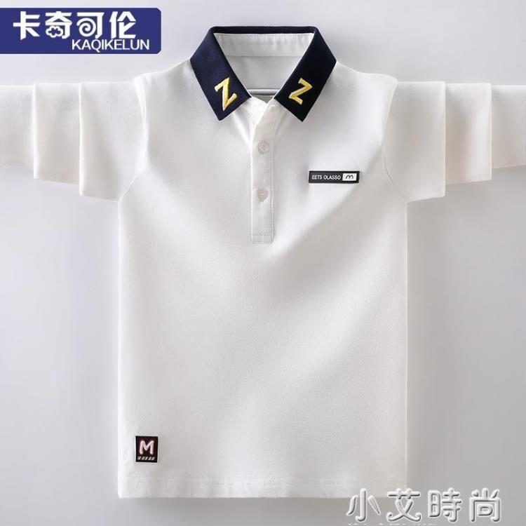 男童t恤長袖春裝潮韓版白色中大童polo衫體恤男孩上衣兒童裝純棉 四季小屋