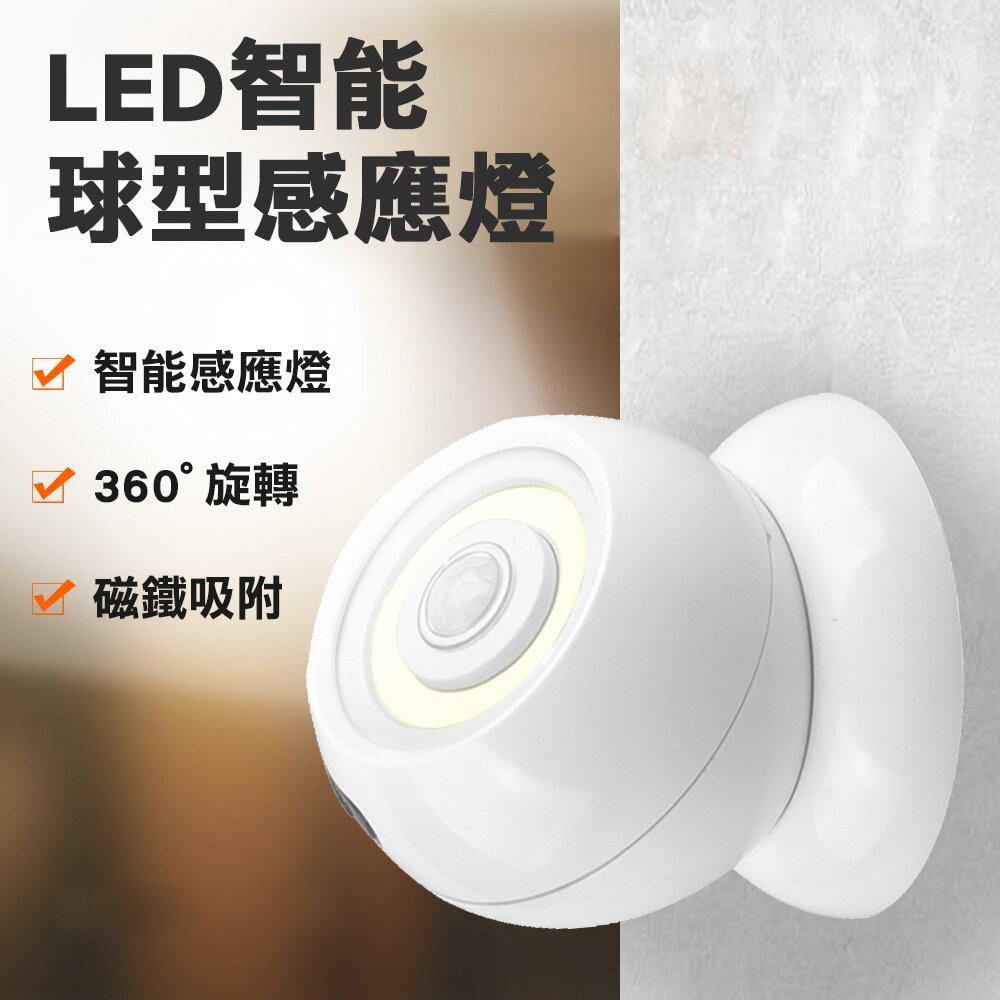 【CY 呈云】360度智能LED人體感應燈 球型白光小夜燈(樓梯燈、走廊燈、櫥櫃燈、床頭燈)