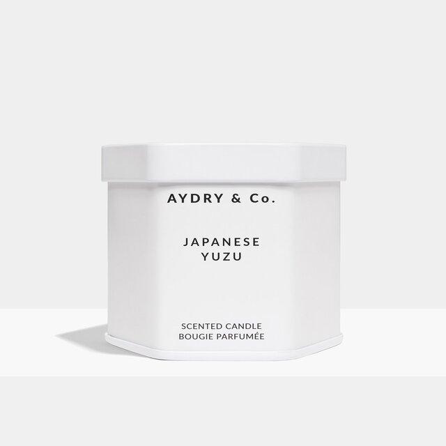 美國 AYDRY & Co. 日本柚子 JAPANESE YUZU 簡約白色六角錫罐 3.5oz / 99g 香氛蠟燭