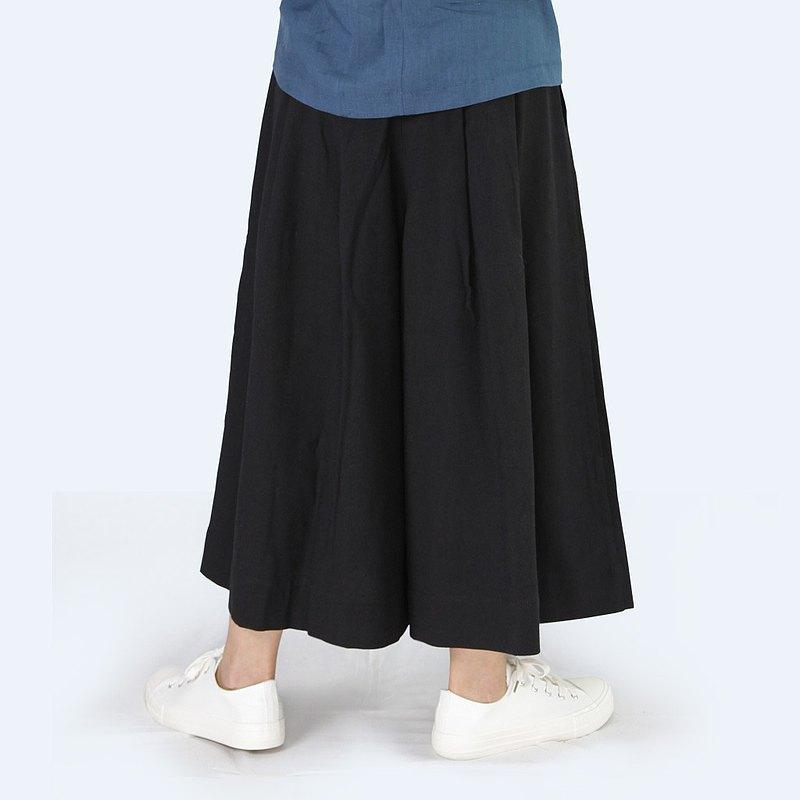 褲裙 - 天然棉麻 鬆緊帶 女裝褲裙 /黑色