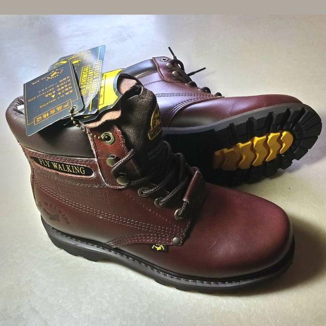 【JHS杰恆社】圖1零碼41款210215c口FLYWALKING固特異工藝膠底筋底高幫靴馬丁靴牛仔靴野戰靴工作鞋