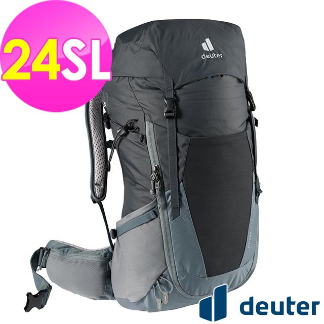 【德國deuter】FUTURA透氣網架背包24SL (3400521 黑/水藍/登山/健行)
