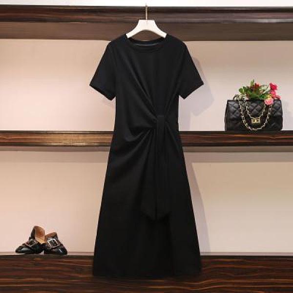 M-4XL小中大尺碼洋裝~大碼女裝胖M寬松綁帶收腰過膝和款T恤連身裙純色純棉短袖4F017C莎菲娜