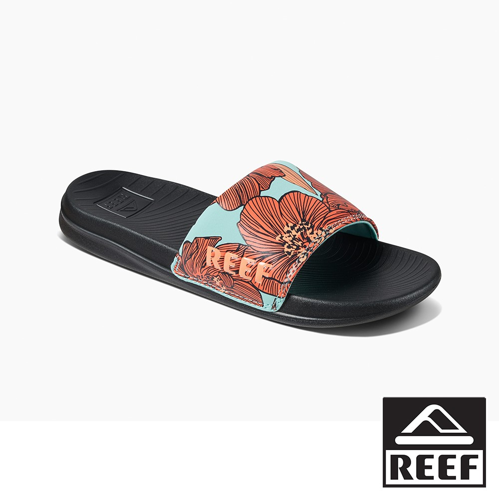 REEF 一片式非夾腳系列 人體工學印花款女款拖鞋 - 水藍花朵【新品上市】 S21 CI4729