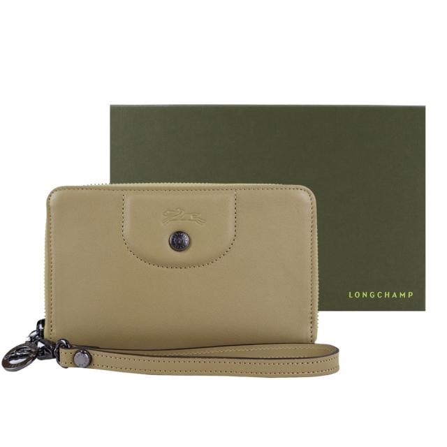 LONGCHAMP LE PLIAGE CUIR系列新款小羊皮手掛式零錢夾(卡其)