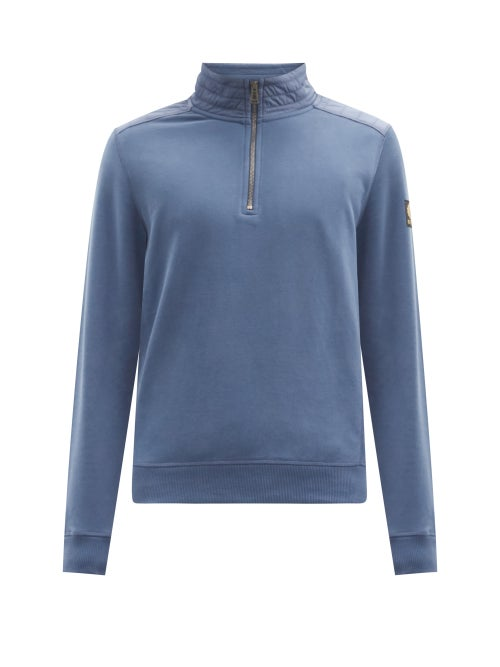 Belstaff - Jaxon Quilted-shell And Cotton Jersey Sweater - Mens - Blue