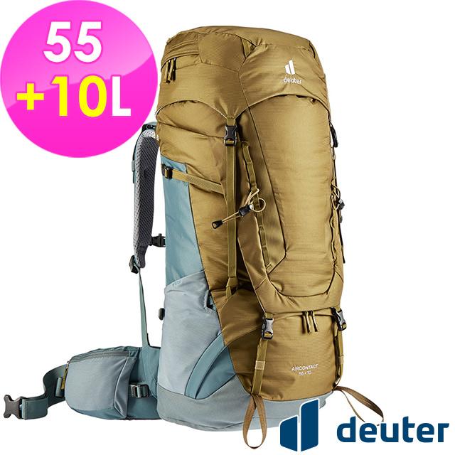 【德國deuter】AIRCONTACT拔熱透氣背包55+10L (3320321 土/湖藍/登山/健行)