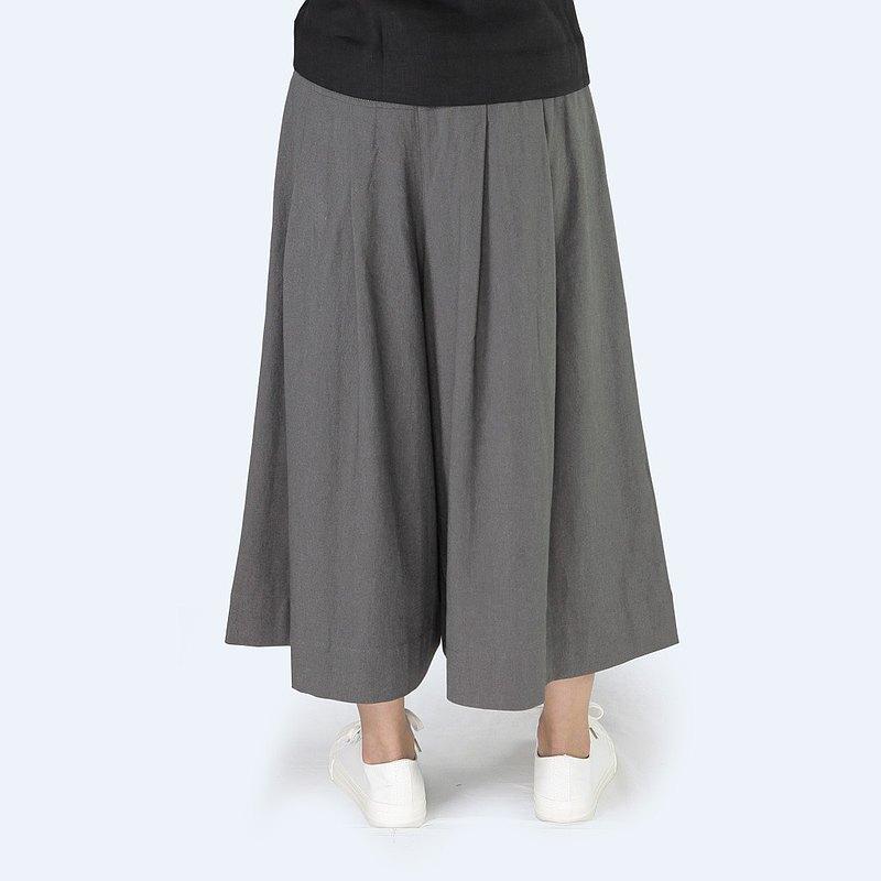 褲裙 - 天然棉麻 鬆緊帶 女裝褲裙 / 鐵灰色