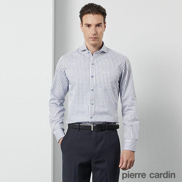 【pierre cardin 皮爾卡登】男裝 都會休閒格紋修身版長袖襯衫-白底藍格(53810-32)