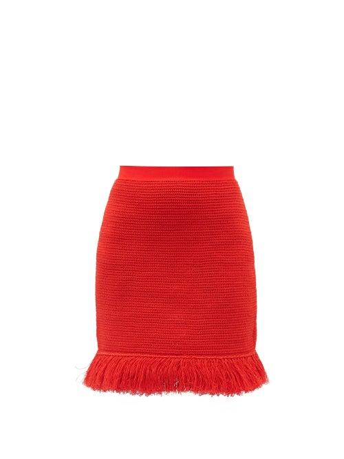 Bottega Veneta - Fringed Knitted Cotton-blend Mesh Mini Skirt - Womens - Red