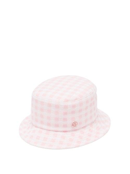 Maison Michel - Jason Reversible Tweed And Twill Bucket Hat - Womens - Pink Multi