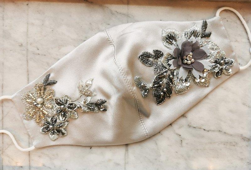 100%真絲配蕾絲釘花高透氣口罩 |  新娘口罩 |  媽媽口罩