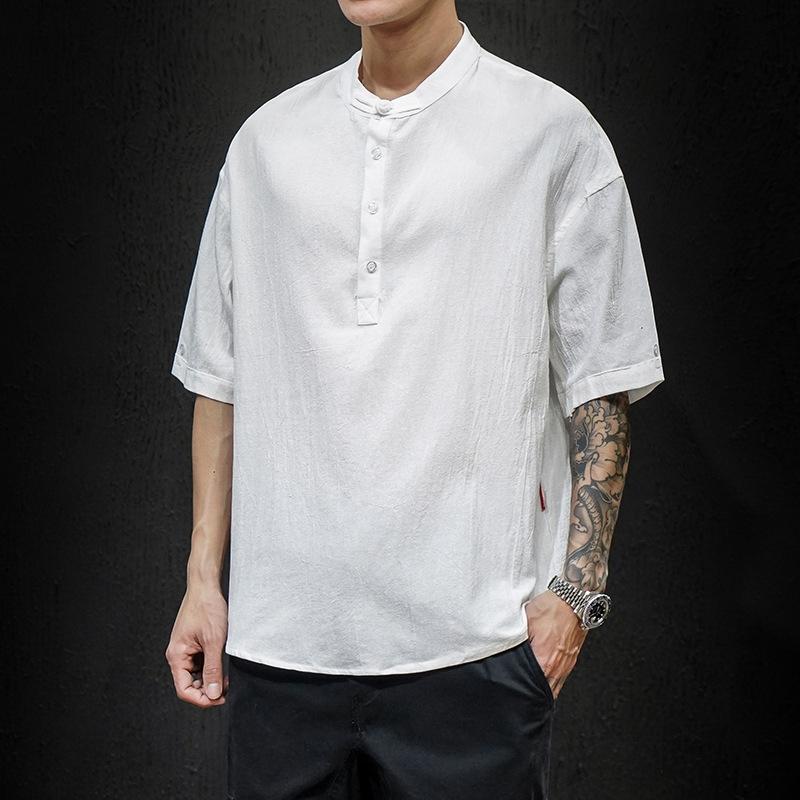 男士短袖T恤 M-5XL 夏季新馬切達日系大碼短袖T恤男 中國風原創棉麻亞麻短袖上衣 寬版大尺碼男士T恤 男生衣著