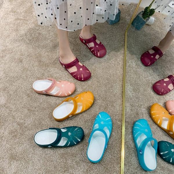 糖果色洞洞鞋女夏季果凍涼鞋平底防滑沙灘鞋拖鞋 樂淘淘