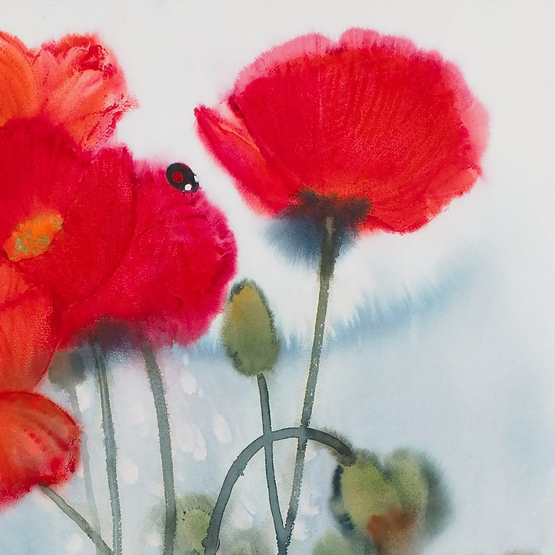 芳華共醉 藝術裝飾畫 在家辦公布置 花 瓢蟲 授權藝術家 SUN LIN