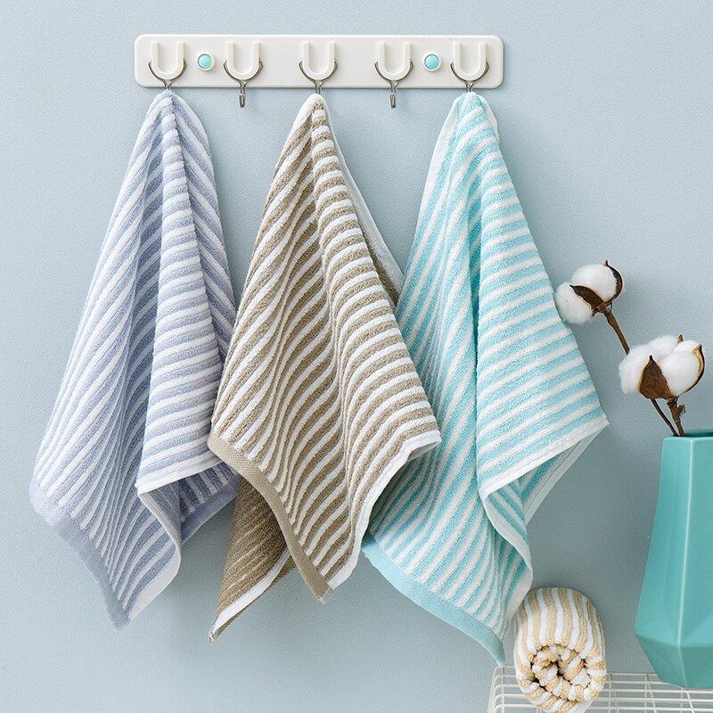 毛巾純棉面巾2條裝色織提花經典條紋男女家用洗臉柔軟吸水