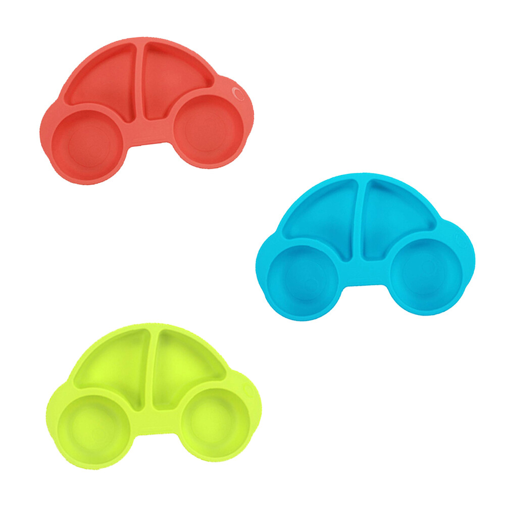 [yep2 芽比兔]噗噗車造型矽膠防滑餐盤