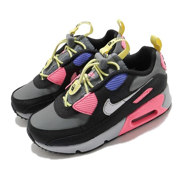 Nike 童鞋 Air Max 90 Toggle PS 黑 灰 粉紅 小朋友 氣墊 【ACS】 CV0064-004