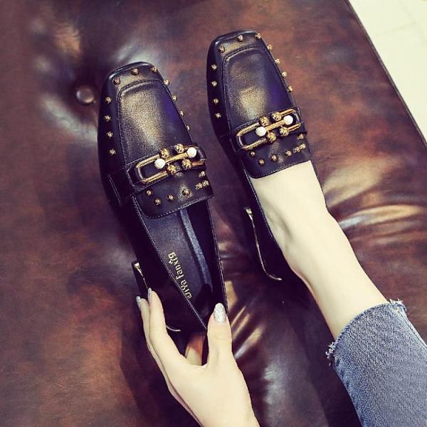 牛津鞋/紳士鞋 英倫風小皮鞋女軟皮女鞋2021春季新款粗跟單鞋豆豆鞋一腳蹬樂福鞋
