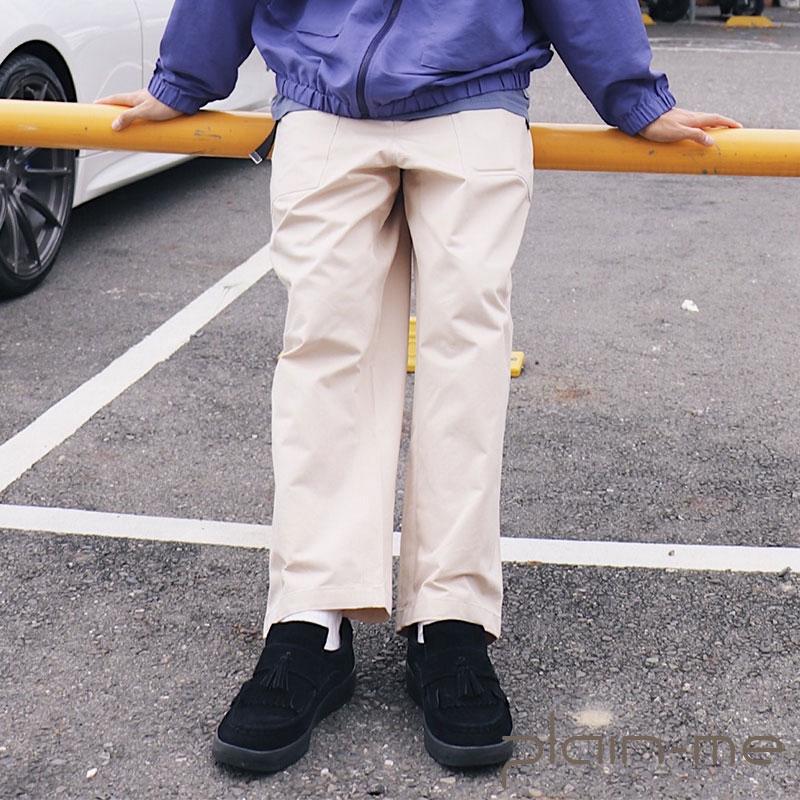 【plain-me】棉質人字紋Baker Pants (米/藍) COP4057