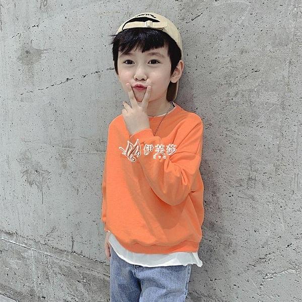 男童假兩件衛衣潮春秋新款中大童裝洋氣兒童上衣韓版春裝