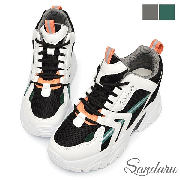 厚底鞋 小隻女必備7.5CM增高休閒鞋-白綠