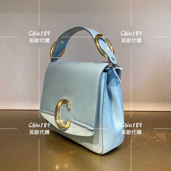 【Chiu189英歐代購】Chlo mini C bag金屬LOGO撞色滑面皮革手提/肩背方包 淺藍