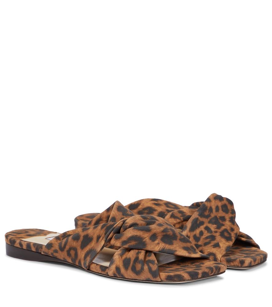 Narisa leopard-print suede sldies