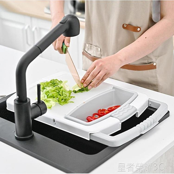 多功能切菜板 日式多功能可折疊菜板洗菜盆瀝水籃家用三合一切菜板水槽砧板案板YTL