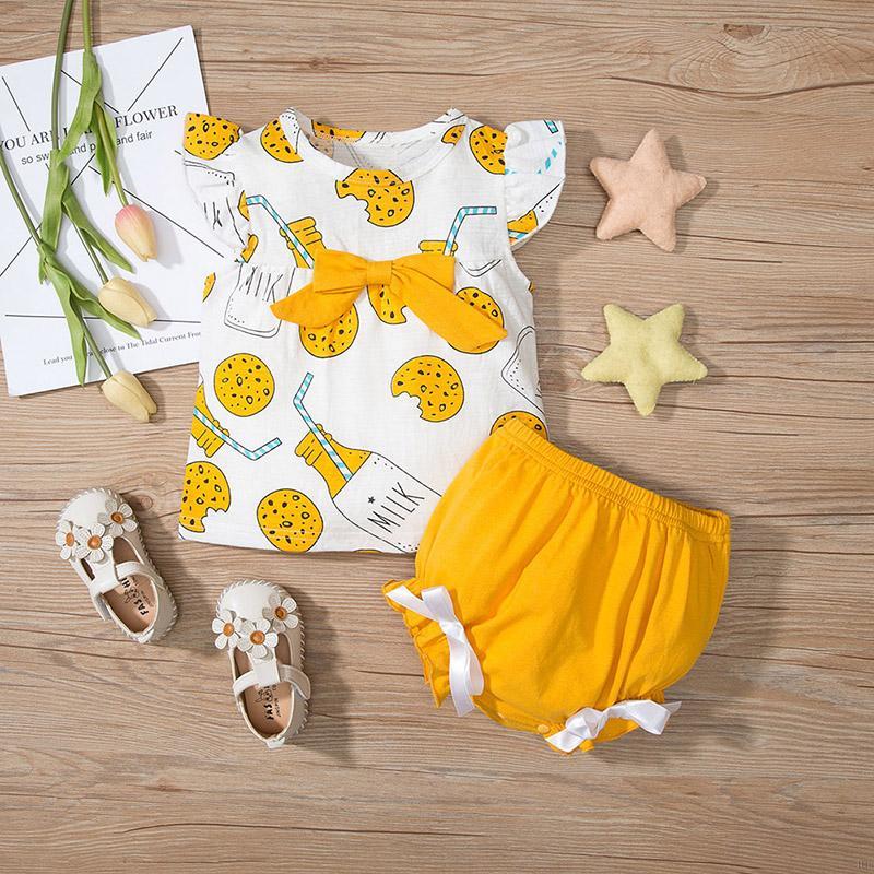 夏季女童純棉印花短袖套裝 女寶寶可愛卡通短袖T恤+短褲 兩件套【IU貝嬰屋】