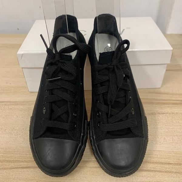 百搭厚底懶人鞋潮帆布鞋休閒鞋(36號/777-10216)