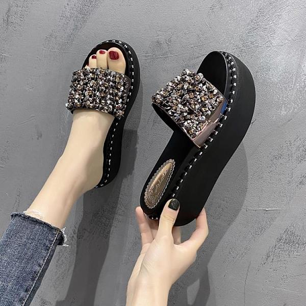 鬆糕鞋 拖鞋女外穿2021新款夏季水鉆松糕厚底一字拖網紅百搭亮片沙灘涼拖