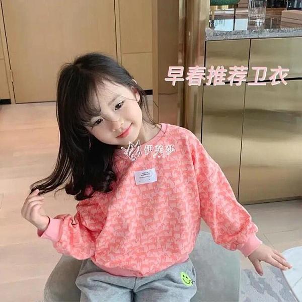 兒童長袖時尚衛衣2021春裝新款韓版男女中小童小馬印花百搭上衣潮