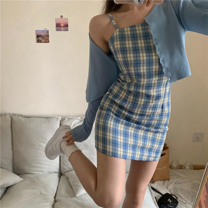泫雅風裙子女夏季少女法式複古格子吊帶短袖連衣裙a字短裙