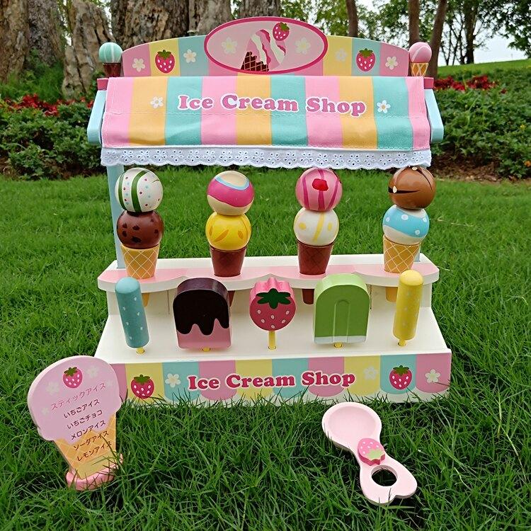 新款木制仿真冰淇淋車雪糕機兒童過家家冰激凌甜筒男女孩