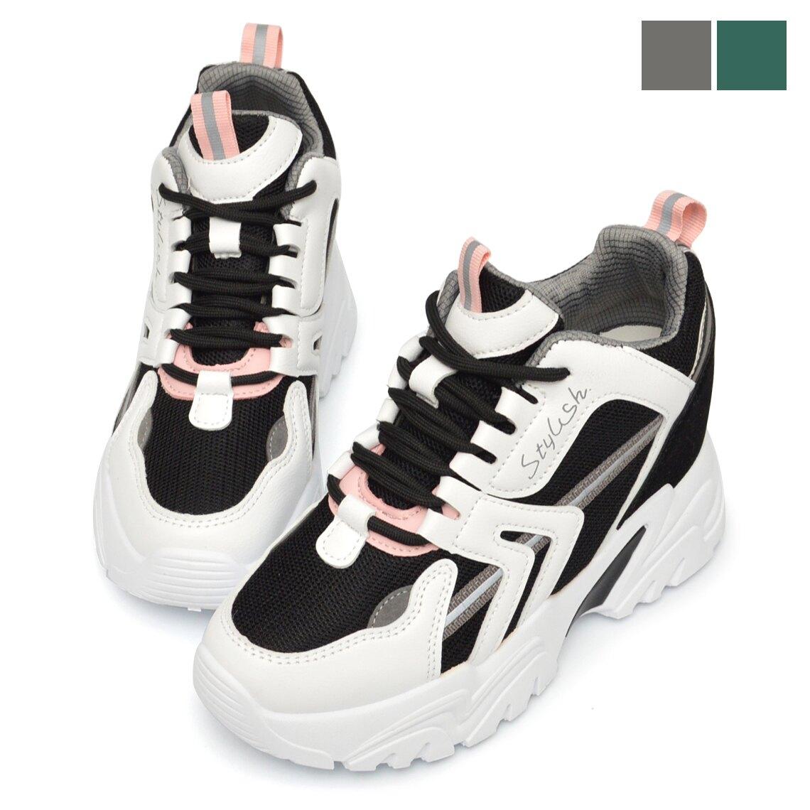厚底鞋 小隻女必備7.5CM增高休閒鞋-白灰
