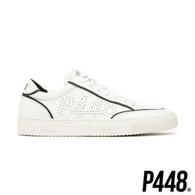 P448-Soho休閒真皮小白鞋-黑白
