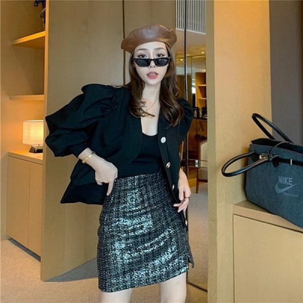 (下殺) 秋季韓版設計感泡泡袖荷葉邊設計款短版素面小外套【08SG05227】