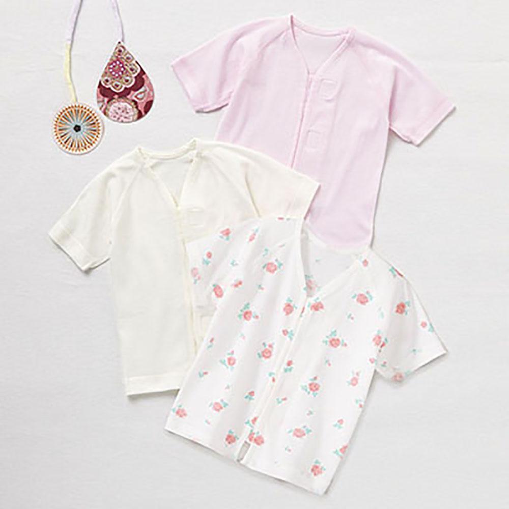 Combimini 純棉肚衣3件組(黏貼式7分袖)/60-70/白色*1 粉色*1 小花*1