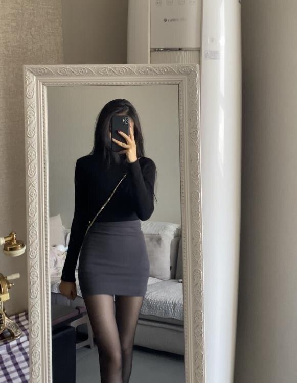 窄裙 enen 包臀短裙女彈力顯瘦緊身修身一步裙打底半裙性感高腰半身裙 【星空物語】