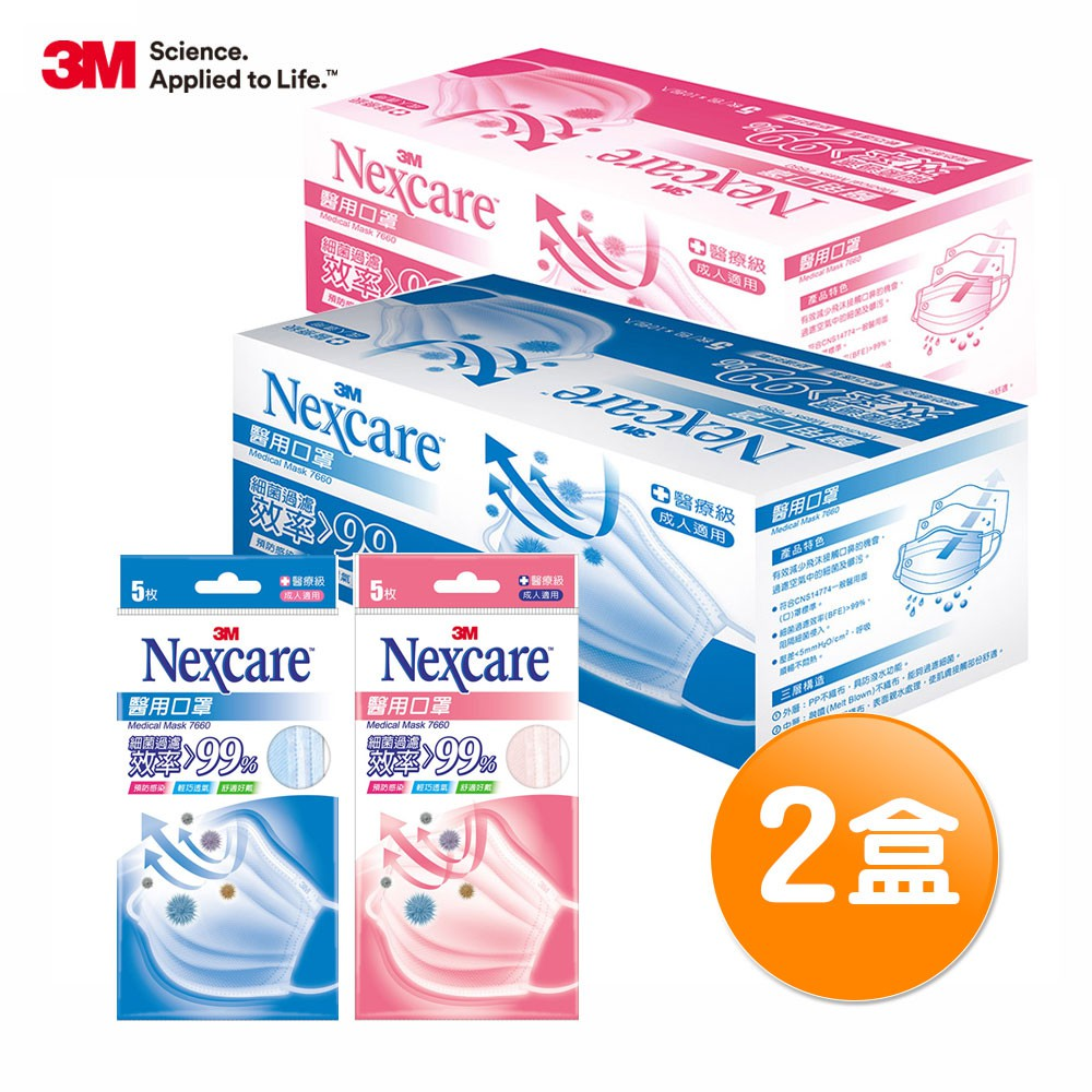 3M Nexcare 7660 醫用口罩-盒裝口罩 2盒組(共100片)