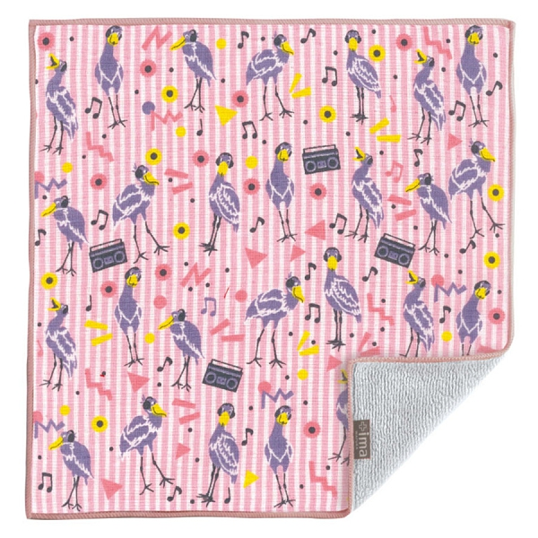 【日本製】【+ima】今治毛巾手帕 鸛鳥與旋律圖案 SD-4093 - 日本製 今治毛巾