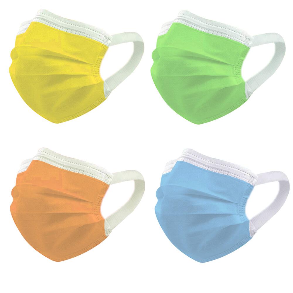 神煥四色 四療口罩50入/盒(未滅菌)專利可調式無痛耳帶設計 台灣製造(藍/綠/黃/橘色 任選)
